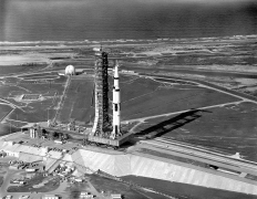c1 5-20-1969 Aerial View of Apollo 11 Saturn V on Transporter