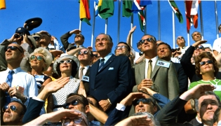 c2 07-16-1969 Spiro Agnew and Lyndon Johnson Watch the Apollo 11 Liftoff