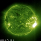 o13-Giant-solar-flare-The-Solar-and-Heliospheric-Observatory-(SOHO)-was-monitoring-it-all.-The-ultraviolet-telescope-captured-the-climax-of-activity-on-4-November-2003-Credit-ESA-NASA