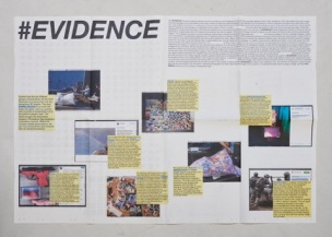 #EVIDENCE, folded newspaper / take away for free ephemera (photo credit: Pim Top)