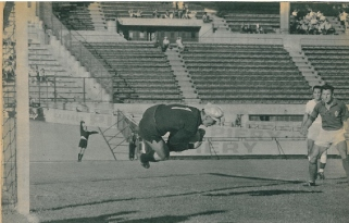 Czech goalkeepr Schroif making another save, during France 0-Czechoslovakia 2, July 9, 1960