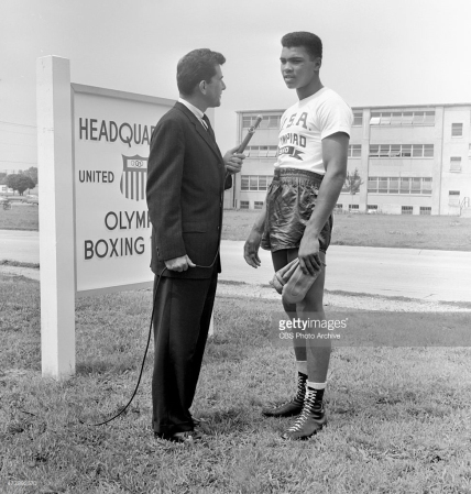 Dick Kirschner, CBS Television journalist interviewing Cassius Clay, member of the 1960 Summer Olympic U.S. Boxing Team. Rome, Italy, August 12, 1960 (CBS Photo Archive/Getty Images)